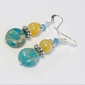 Pretty Robin's Egg Blue & Sunny Yellow Earrings